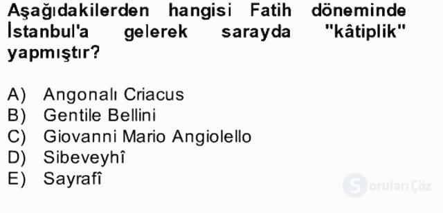 XIV-XV. Yüzyıllar Türk Edebiyatı Bahar Dönemi Final 10. Soru