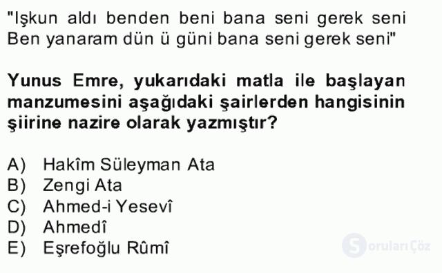 XIV-XV. Yüzyıllar Türk Edebiyatı Bahar Dönemi Final 13. Soru