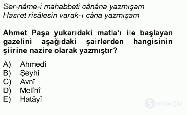 XIV-XV. Yüzyıllar Türk Edebiyatı Bahar Dönemi Final 14. Soru