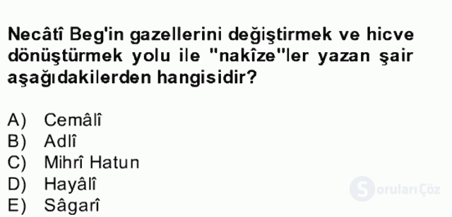XIV-XV. Yüzyıllar Türk Edebiyatı Bahar Dönemi Final 15. Soru