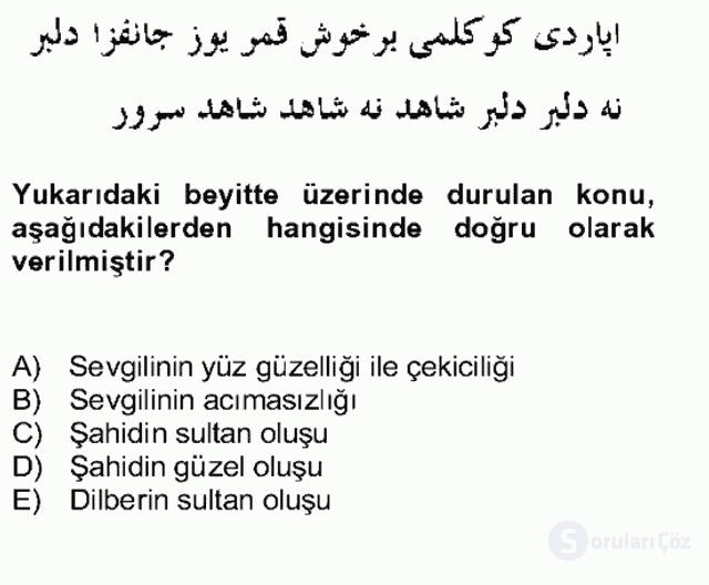 XIV-XV. Yüzyıllar Türk Edebiyatı Bahar Dönemi Final 16. Soru