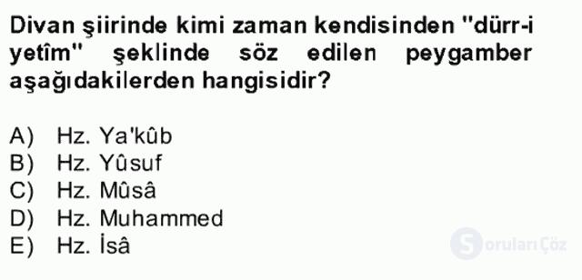 XIV-XV. Yüzyıllar Türk Edebiyatı Bahar Dönemi Final 19. Soru