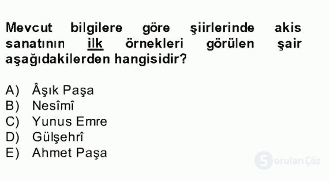 XIV-XV. Yüzyıllar Türk Edebiyatı Bahar Dönemi Final 2. Soru