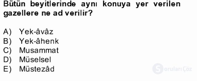XIV-XV. Yüzyıllar Türk Edebiyatı Bahar Dönemi Final 20. Soru