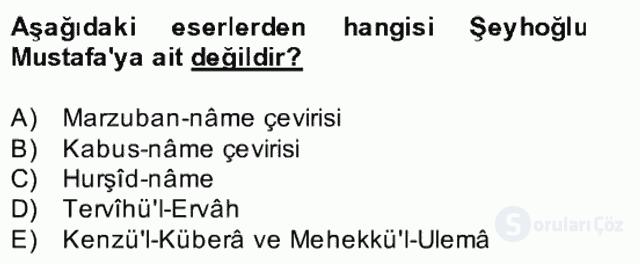 XIV-XV. Yüzyıllar Türk Edebiyatı Bahar Dönemi Final 4. Soru