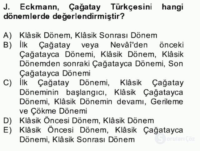 XIV-XV. Yüzyıllar Türk Edebiyatı Bahar Dönemi Final 5. Soru