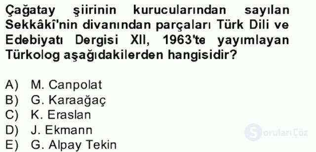 XIV-XV. Yüzyıllar Türk Edebiyatı Bahar Dönemi Final 6. Soru