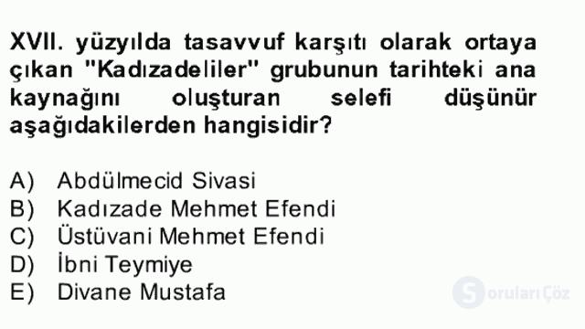 XVII. Yüzyıl Türk Edebiyatı Bahar Dönemi Final 1. Soru