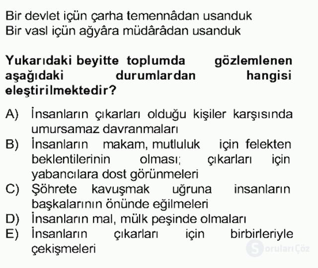 XVII. Yüzyıl Türk Edebiyatı Bahar Dönemi Final 11. Soru