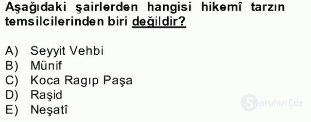 XVII. Yüzyıl Türk Edebiyatı Bahar Dönemi Final 12. Soru