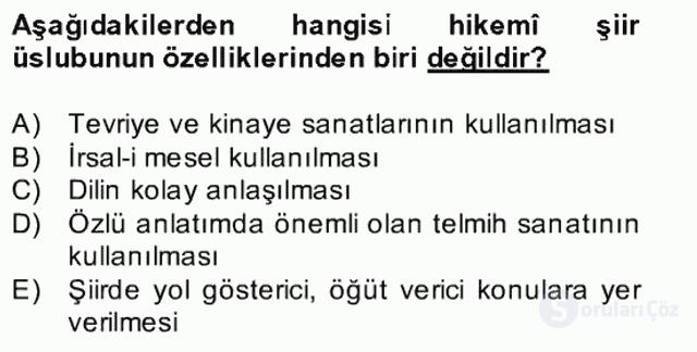 XVII. Yüzyıl Türk Edebiyatı Bahar Dönemi Final 13. Soru