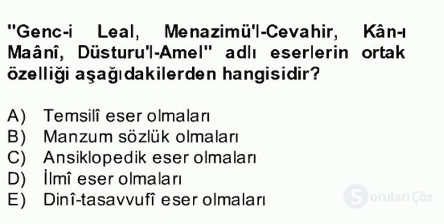 XVII. Yüzyıl Türk Edebiyatı Bahar Dönemi Final 17. Soru