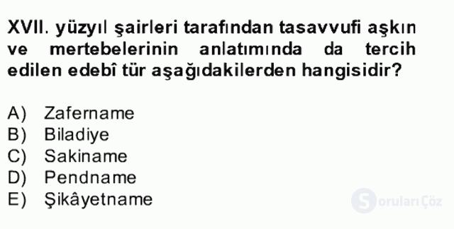 XVII. Yüzyıl Türk Edebiyatı Bahar Dönemi Final 18. Soru