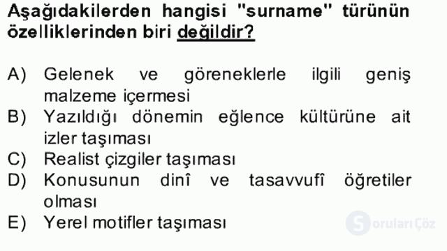 XVII. Yüzyıl Türk Edebiyatı Bahar Dönemi Final 19. Soru