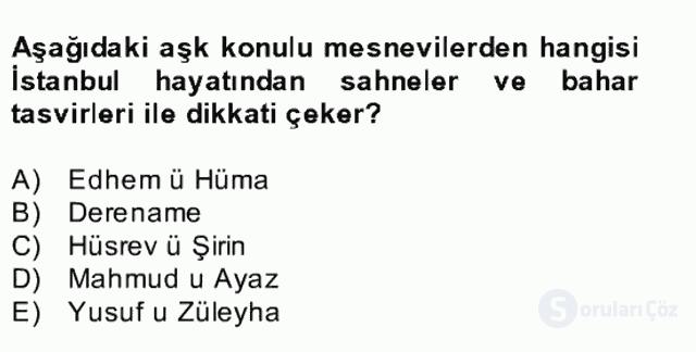 XVII. Yüzyıl Türk Edebiyatı Bahar Dönemi Final 20. Soru