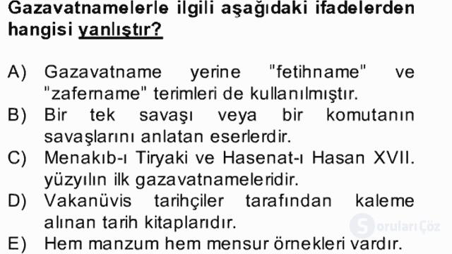 XVII. Yüzyıl Türk Edebiyatı Bahar Dönemi Final 22. Soru