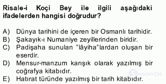 XVII. Yüzyıl Türk Edebiyatı Bahar Dönemi Final 23. Soru