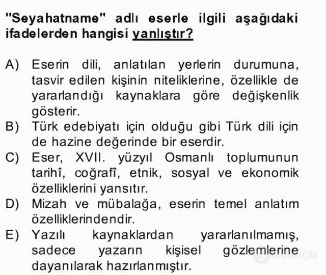 XVII. Yüzyıl Türk Edebiyatı Bahar Dönemi Final 24. Soru