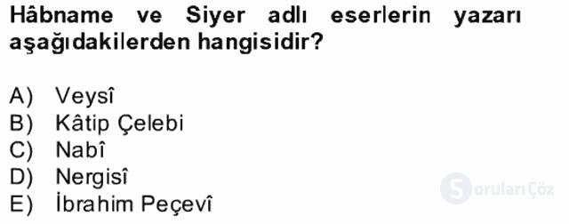 XVII. Yüzyıl Türk Edebiyatı Bahar Dönemi Final 25. Soru