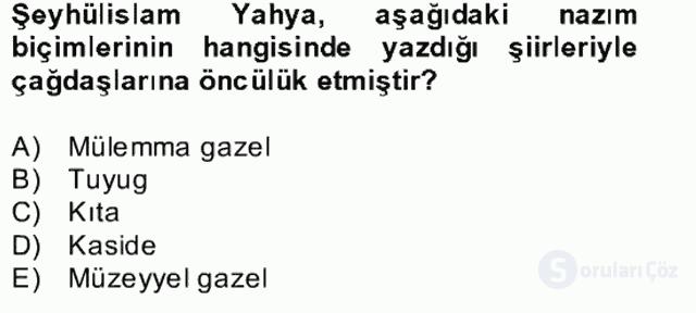 XVII. Yüzyıl Türk Edebiyatı Bahar Dönemi Final 3. Soru