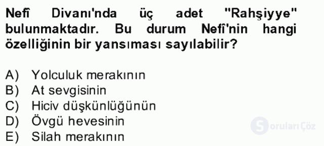 XVII. Yüzyıl Türk Edebiyatı Bahar Dönemi Final 5. Soru