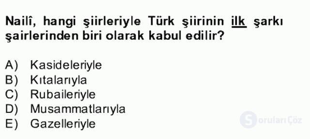 XVII. Yüzyıl Türk Edebiyatı Bahar Dönemi Final 7. Soru