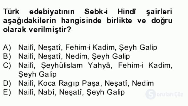 XVII. Yüzyıl Türk Edebiyatı Bahar Dönemi Final 8. Soru