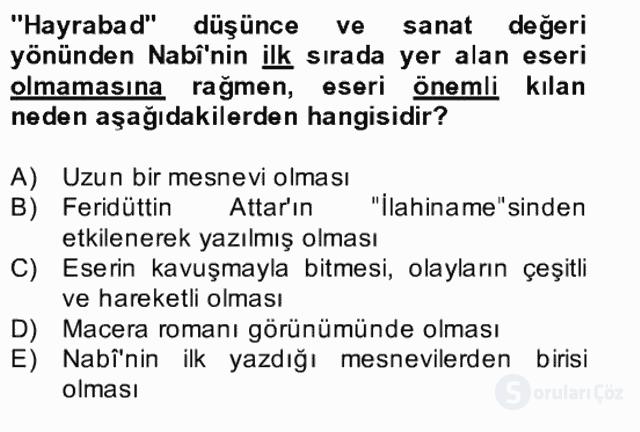 XVII. Yüzyıl Türk Edebiyatı Bahar Dönemi Final 9. Soru