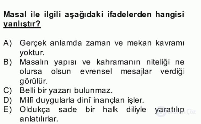 Halk Edebiyatına Giriş II Bahar Dönemi Final 1. Soru