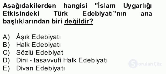 Halk Edebiyatına Giriş II Bahar Dönemi Final 10. Soru