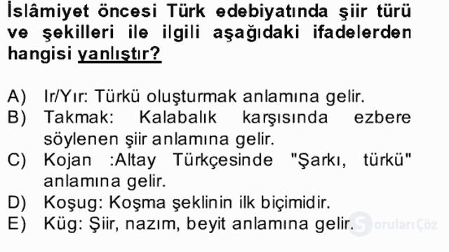 Halk Edebiyatına Giriş II Bahar Dönemi Final 12. Soru