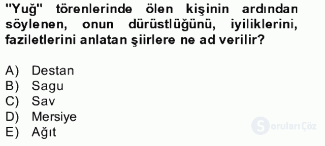 Halk Edebiyatına Giriş II Bahar Dönemi Final 13. Soru