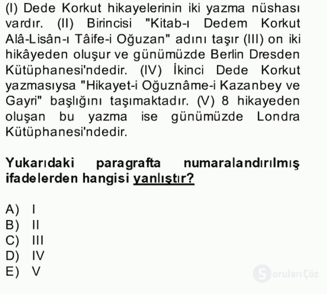 Halk Edebiyatına Giriş II Bahar Dönemi Final 16. Soru