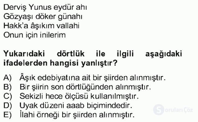 Halk Edebiyatına Giriş II Bahar Dönemi Final 17. Soru