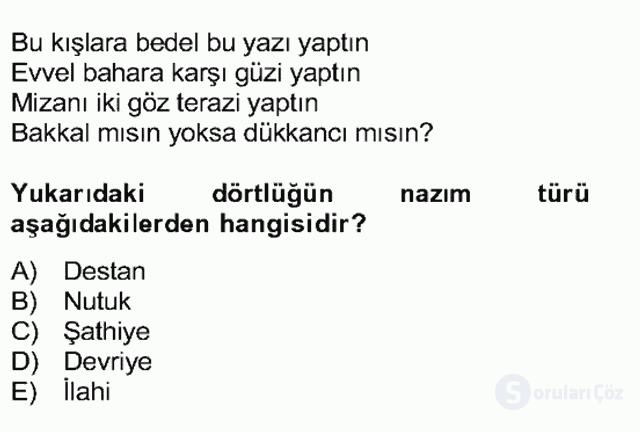 Halk Edebiyatına Giriş II Bahar Dönemi Final 18. Soru