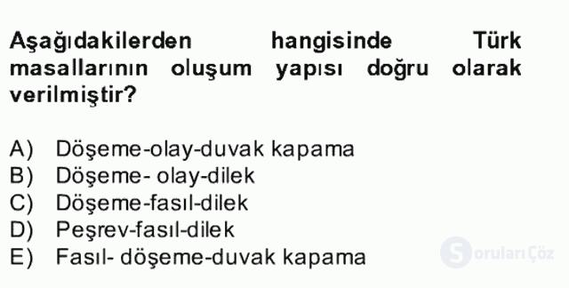 Halk Edebiyatına Giriş II Bahar Dönemi Final 2. Soru