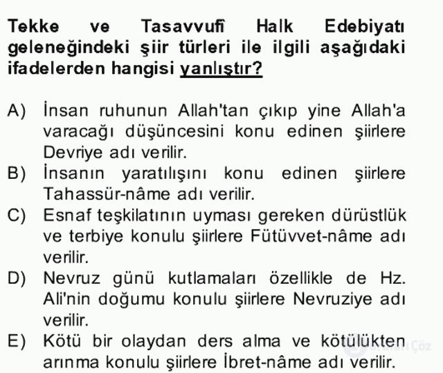 Halk Edebiyatına Giriş II Bahar Dönemi Final 21. Soru