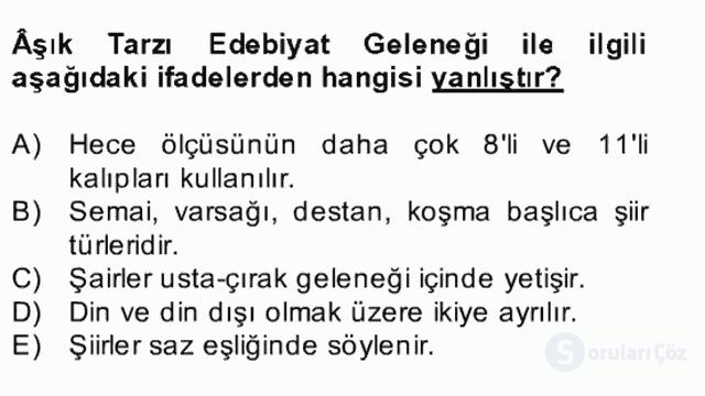 Halk Edebiyatına Giriş II Bahar Dönemi Final 23. Soru