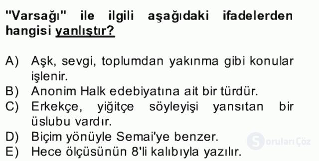 Halk Edebiyatına Giriş II Bahar Dönemi Final 24. Soru
