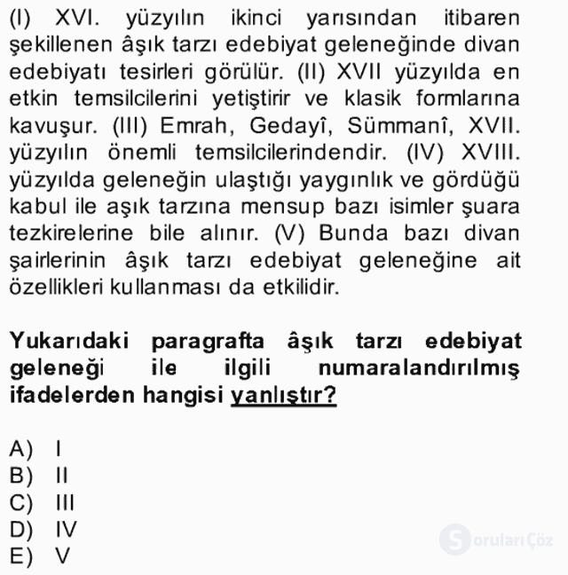 Halk Edebiyatına Giriş II Bahar Dönemi Final 25. Soru