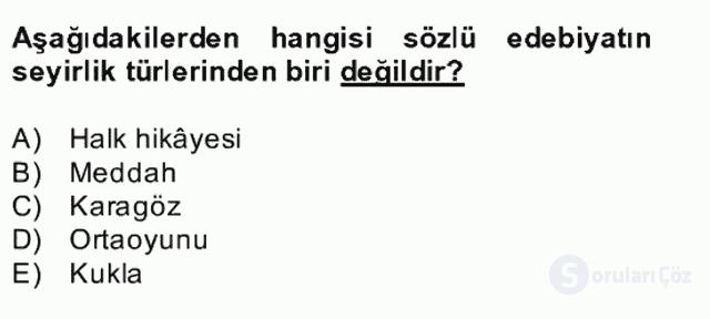 Halk Edebiyatına Giriş II Bahar Dönemi Final 4. Soru