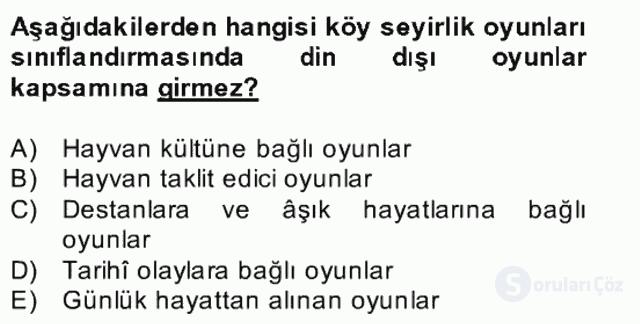 Halk Edebiyatına Giriş II Bahar Dönemi Final 6. Soru