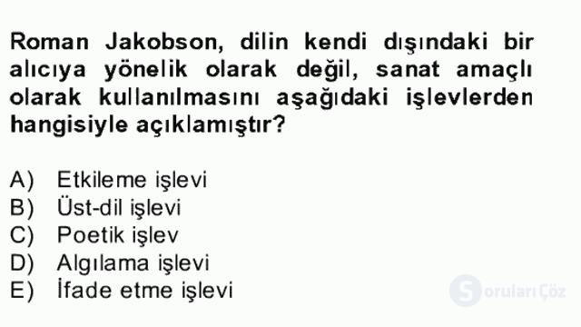 Yeni Türk Edebiyatına Giriş II Bahar Dönemi Final 1. Soru