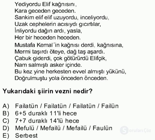 Yeni Türk Edebiyatına Giriş II Bahar Dönemi Final 10. Soru