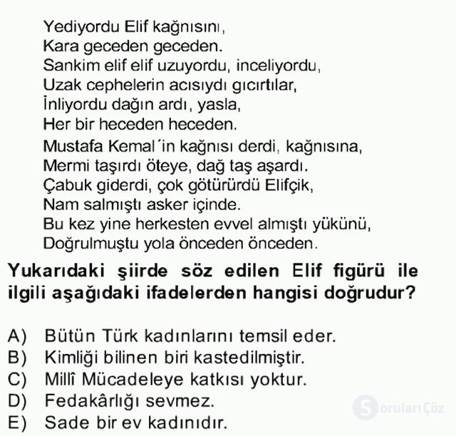 Yeni Türk Edebiyatına Giriş II Bahar Dönemi Final 12. Soru