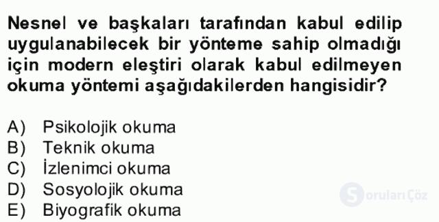 Yeni Türk Edebiyatına Giriş II Bahar Dönemi Final 13. Soru