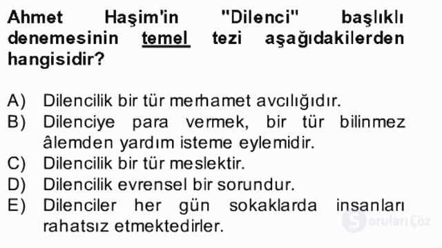 Yeni Türk Edebiyatına Giriş II Bahar Dönemi Final 14. Soru