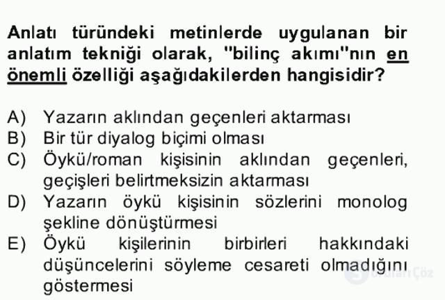 Yeni Türk Edebiyatına Giriş II Bahar Dönemi Final 16. Soru