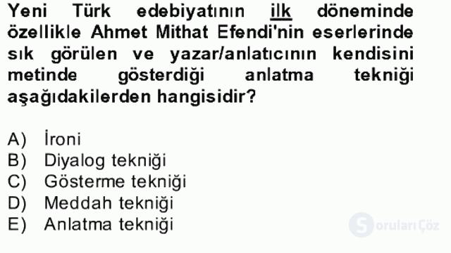 Yeni Türk Edebiyatına Giriş II Bahar Dönemi Final 17. Soru