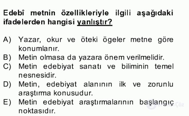Yeni Türk Edebiyatına Giriş II Bahar Dönemi Final 18. Soru